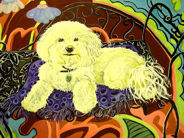 Art Poster featuring the painting White Dog In Garden by Patricia Lazar