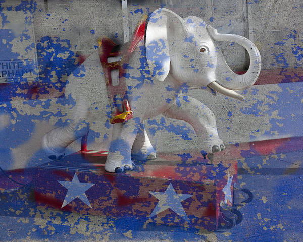 White Poster featuring the photograph White Elephant Ride Abstract by Garry Gay