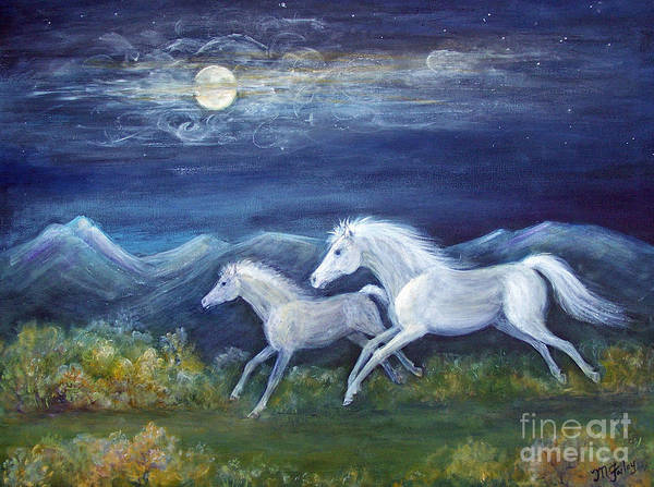 Horse Poster featuring the painting White Horses In Moonlight by Maureen Ida Farley