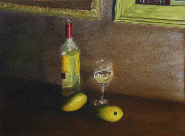 Painting Poster featuring the painting White Wine And Mangoes by Alan Mager