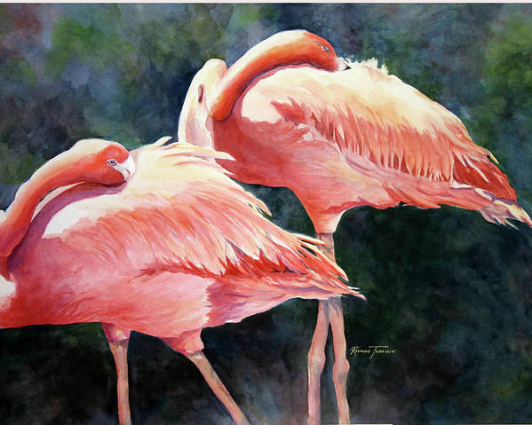 Flamingos Poster featuring the painting Who's Peek'n - Flamingos by Roxanne Tobaison