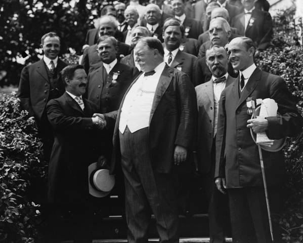 Us Presidents Poster featuring the photograph William Howard Taft 1857-1930 Receives by Everett