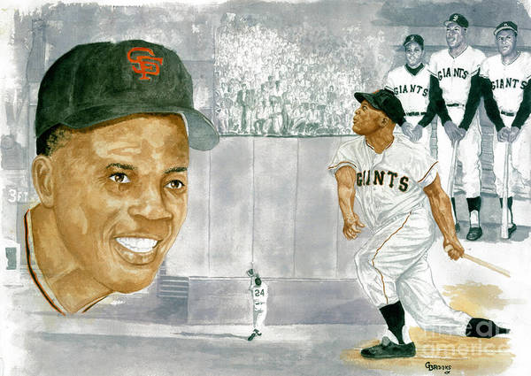 Willie Mays Poster featuring the painting Willie Mays - The Greatest by George Brooks