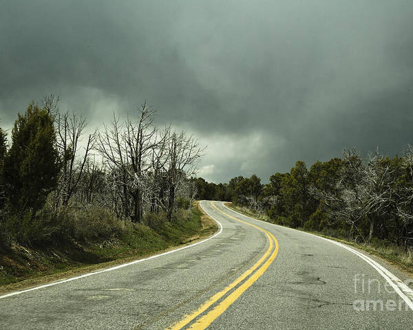 Arid Poster featuring the photograph Winding Two Lane Road by Ned Frisk