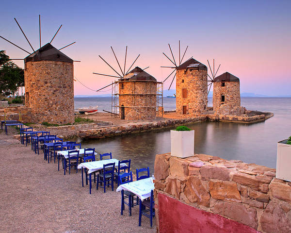 Agios Isidoros Poster featuring the photograph Windmills 2 by Emmanuel Panagiotakis