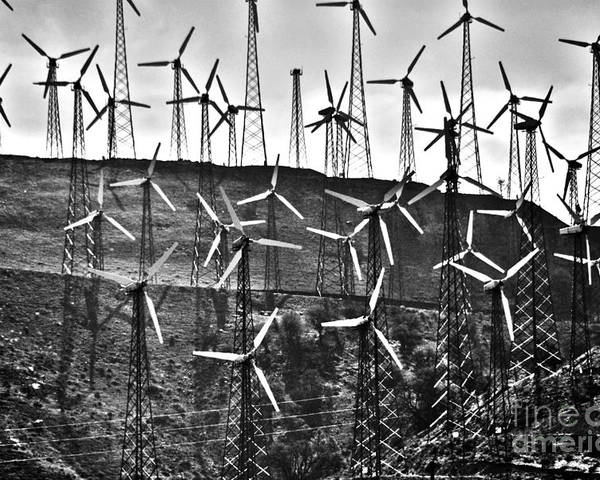 Windmills Poster featuring the photograph Windmills By Tehachapi by Susanne Van Hulst