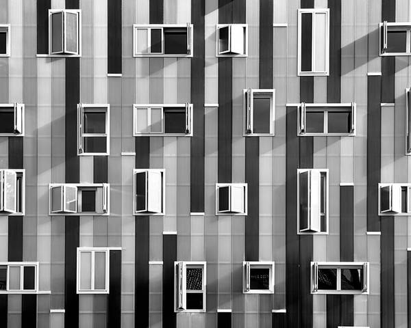 Horizontal Poster featuring the photograph Window Facade by Gabriel Sanz (Glitch)