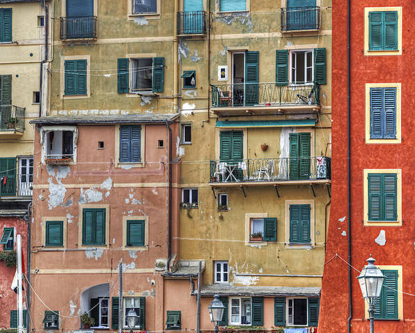 Camogli Poster featuring the photograph Windows Of Camogli by Joana Kruse