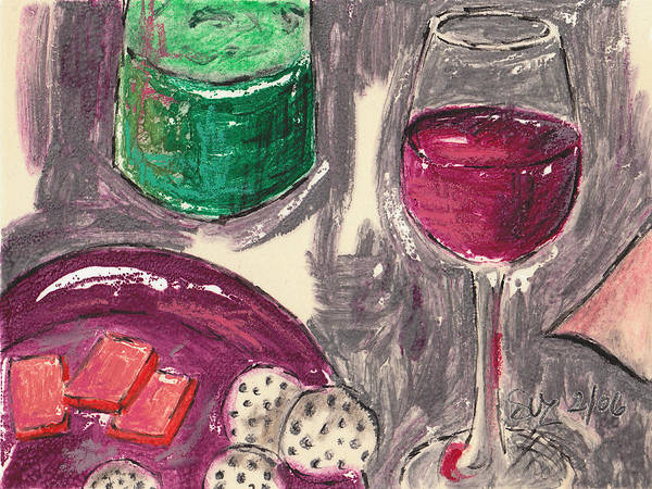 Red Wine Poster featuring the mixed media Wine And Cheese by Suzanne Blender