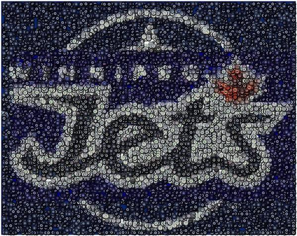 Winnipeg Jets Poster featuring the digital art Winnipeg Jets Puck Mosaic by Paul Van Scott