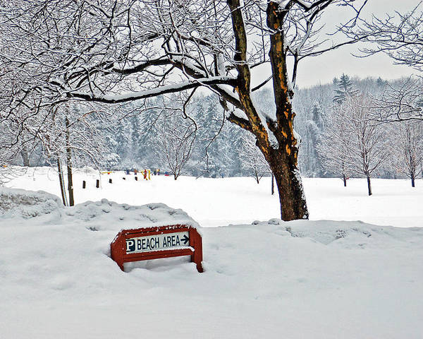 Landscape Poster featuring the photograph Winter Beach Sign by Aimee L Maher Photography and Art Visit ALMGallerydotcom