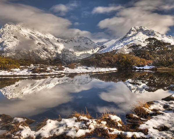 00446716 Poster featuring the photograph Winter Dawn Reflection Of Mount by Colin Monteath