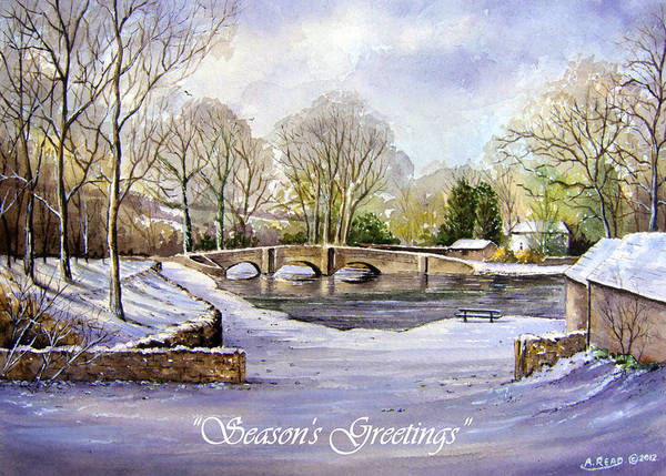 Snow Poster featuring the painting Winter In Ashford Xmas Card by Andrew Read