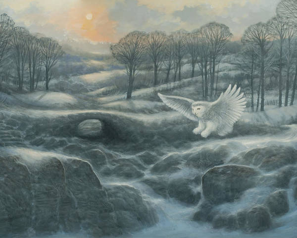 Winter Poster featuring the painting Winter Landscape With Owl by Marte Thompson