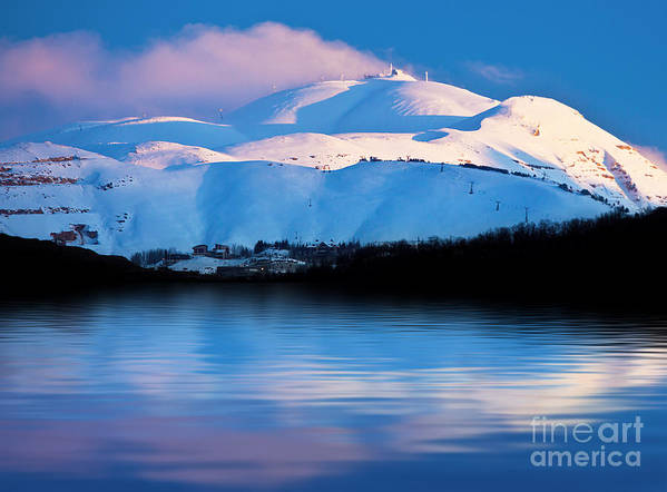 Beautiful Poster featuring the photograph Winter Mountains And Lake Snowy Landscape by Anna Om