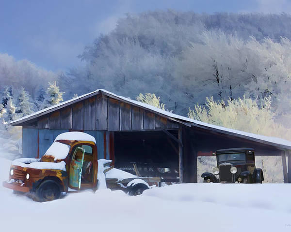 Winter Poster featuring the photograph Winter Shed by Ron Jones