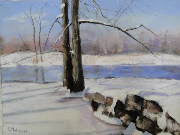 Winterscape Poster featuring the pastel Winter Solace by Cindy Plutnicki