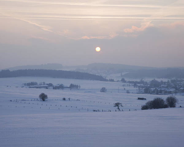 Calm Poster featuring the photograph Winter Sunrise Westerwald by Peter Zoeller
