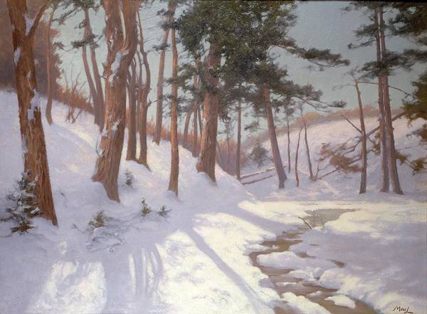 Winter Poster featuring the painting Winter Woodland With A Stream by James MacLaren