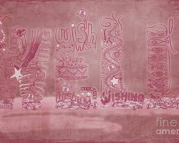 Breast Cancer Poster featuring the digital art Wishing Well Breast Cancer Tribute by Laura Brightwood