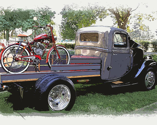 Wizzer Poster featuring the photograph Wizzer Cycle At The Hot Rod Show by Steve McKinzie