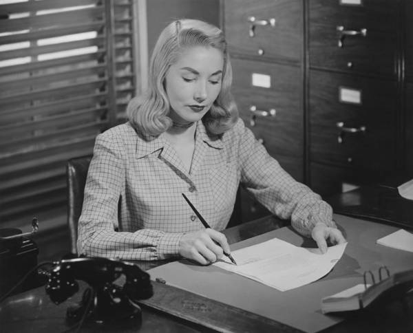 25-29 Years Poster featuring the photograph Woman Sitting At Desk, Writing Letter, (b&w) by George Marks