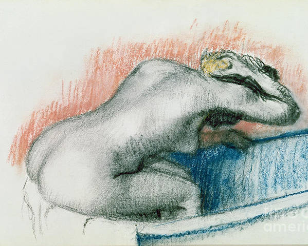 Bathing; Female; Nude; Sponge; Red; White And Blue; Toilet; Toilette; Bather; Interior; Laver Poster featuring the pastel Woman Washing In The Bath by Edgar Degas