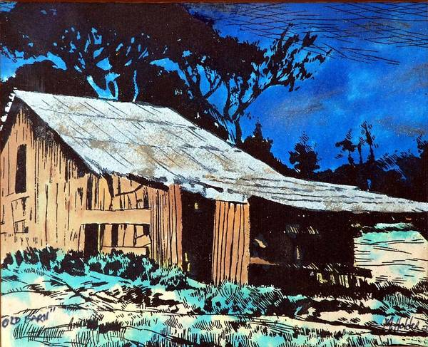 Barn Poster featuring the pyrography Wood Shed by Mike Holder