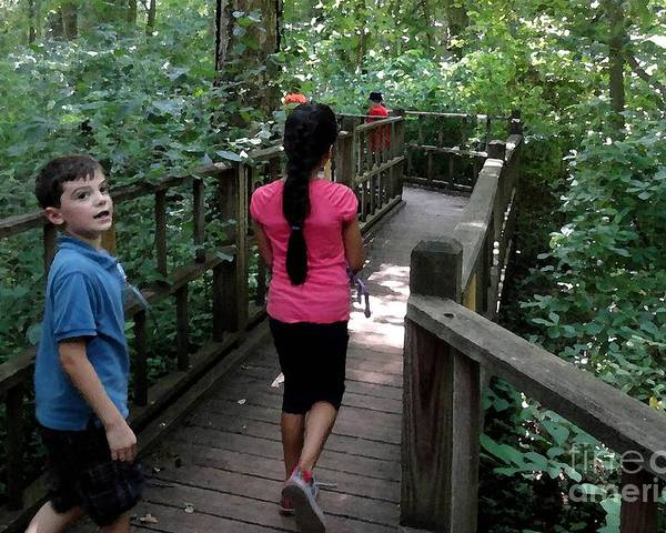 Children Poster featuring the photograph Wooded Trail by RL Rucker
