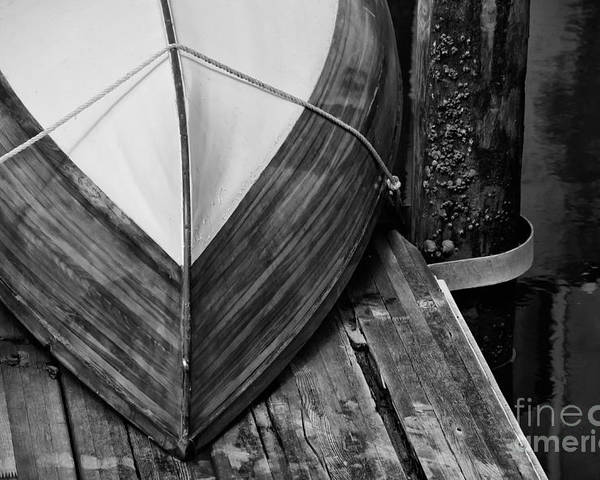 Wooden Boat Poster featuring the photograph Wooden Boat On The Dock by Wilma Birdwell