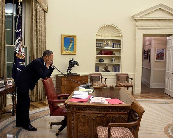 History Poster featuring the photograph Working Late President Barack Obama by Everett