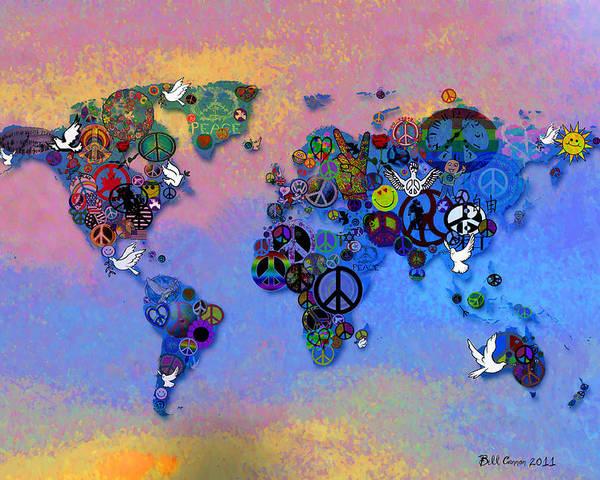 World Peace Tye Dye Poster featuring the digital art World Peace Tye Dye by Bill Cannon