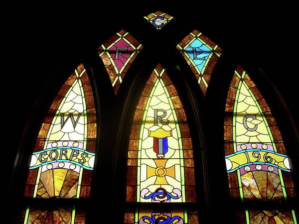 Glass Art Poster featuring the photograph Wrc Stained Glass Window by Thomas Woolworth