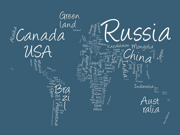 World Map Poster featuring the digital art Writing Text Map Of The World Map by Michael Tompsett