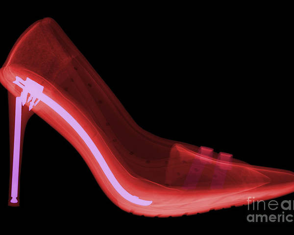Xray Poster featuring the photograph X-ray Of High Heel Shoes by Ted Kinsman