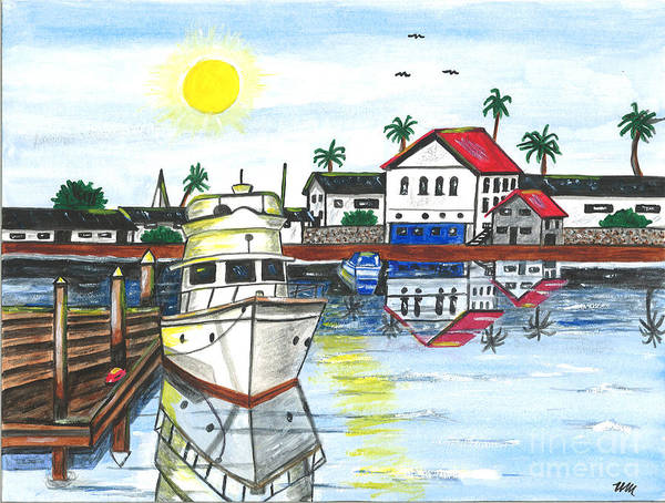 Yacht Poster featuring the painting Yacht In Front Of Red Roofs by Sea Sons Home and Life