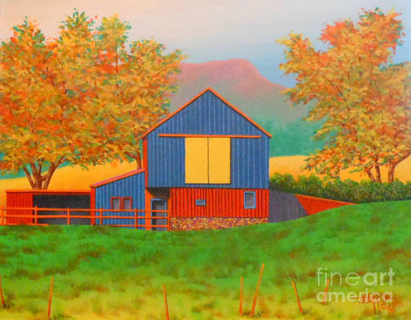 Barn Poster featuring the painting Yellow Barn Door by Hugh Harris