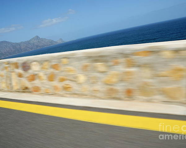 Motion Poster featuring the photograph Yellow Line On A Coastal Road By Sea by Sami Sarkis