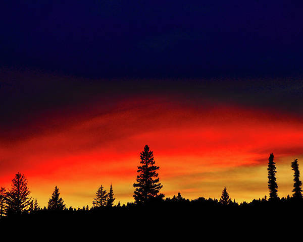 Horizontal Poster featuring the photograph Yellowstone Sunset by Bill Gracey