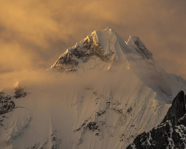 00498216 Poster featuring the photograph Yerupaja Summit Ridge 6617m At Sunset by Colin Monteath
