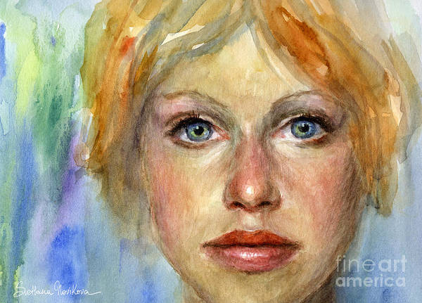 Woman Portrait Poster featuring the painting Young Woman Watercolor Portrait Painting by Svetlana Novikova