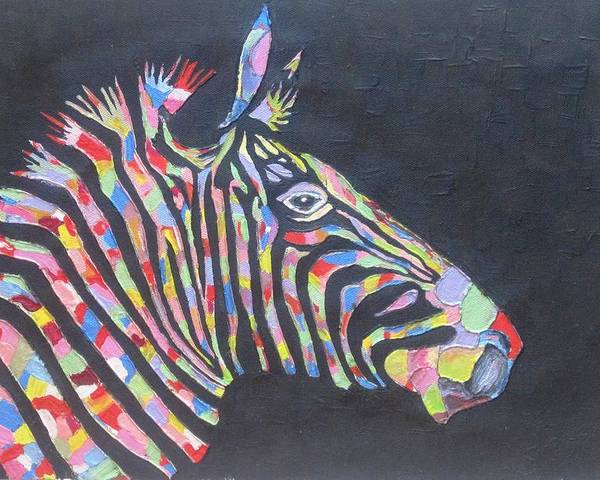 Zebra Poster featuring the painting Zebra by Rejeena Niaz