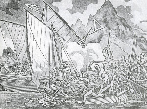 History Poster featuring the Zheng Yis Pirates Capture John Turner by Photo Researchers