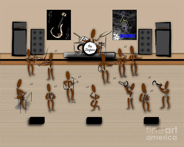 Instruments Poster featuring the digital art Zinglees-the Blues Band by Linda Seacord