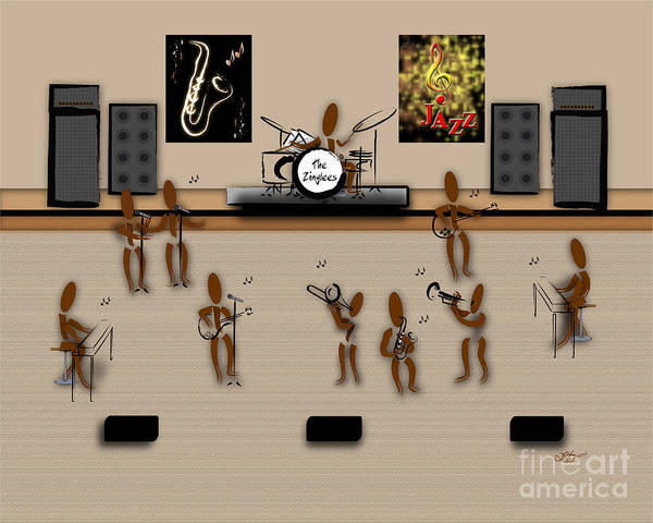 Instruments Poster featuring the digital art Zinglees-the Jazz Band by Linda Seacord