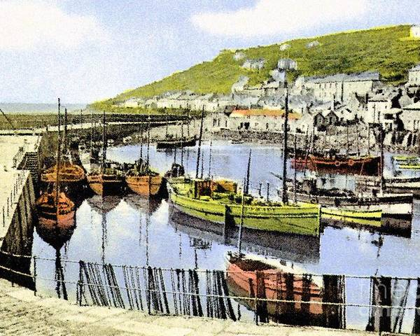 Poster featuring the painting 1900 Harbour View Mousehole Cornwall England by Heidi De Leeuw