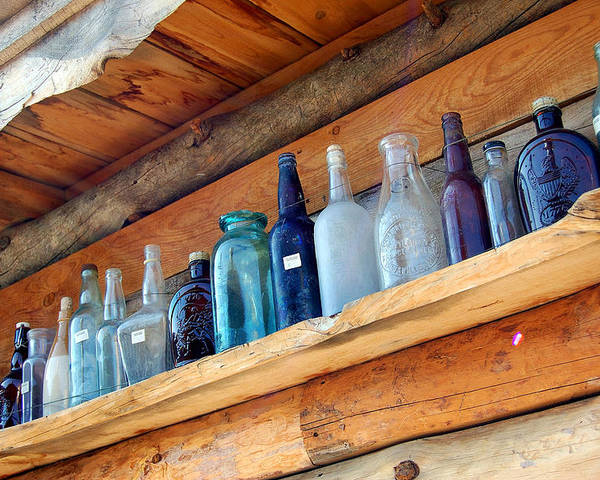 Bottles Poster featuring the photograph Antique Bottles Blues by Heather S Huston