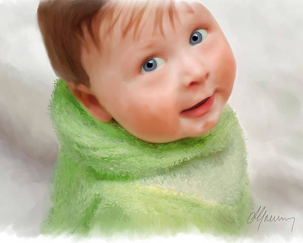 Baby Portraits Poster featuring the digital art Baby Blue Eyes by Michael Greenaway