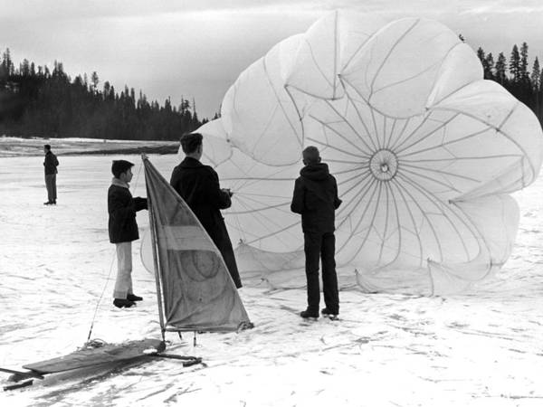 Boys Poster featuring the photograph Boys Frozen Lake Parachute Sailboard Circa 1960 by Mark Goebel
