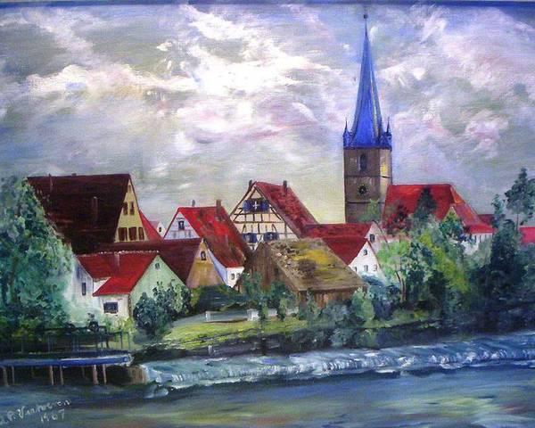 Landscape River Regnitz Church Erlangen Bruck Germany Poster featuring the painting Brucker Kirche by Alfred P Verhoeven